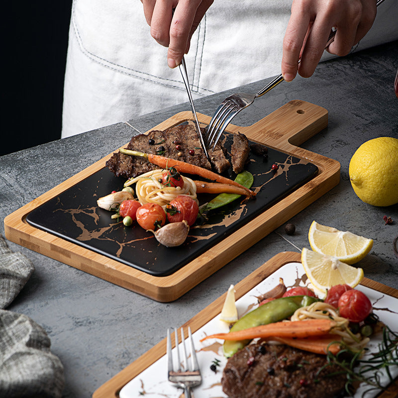 Luxury Acacia Wood and Marble Serving Board