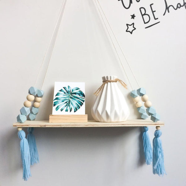 Wooden Swing Shelves with Colored Beaded Tassels