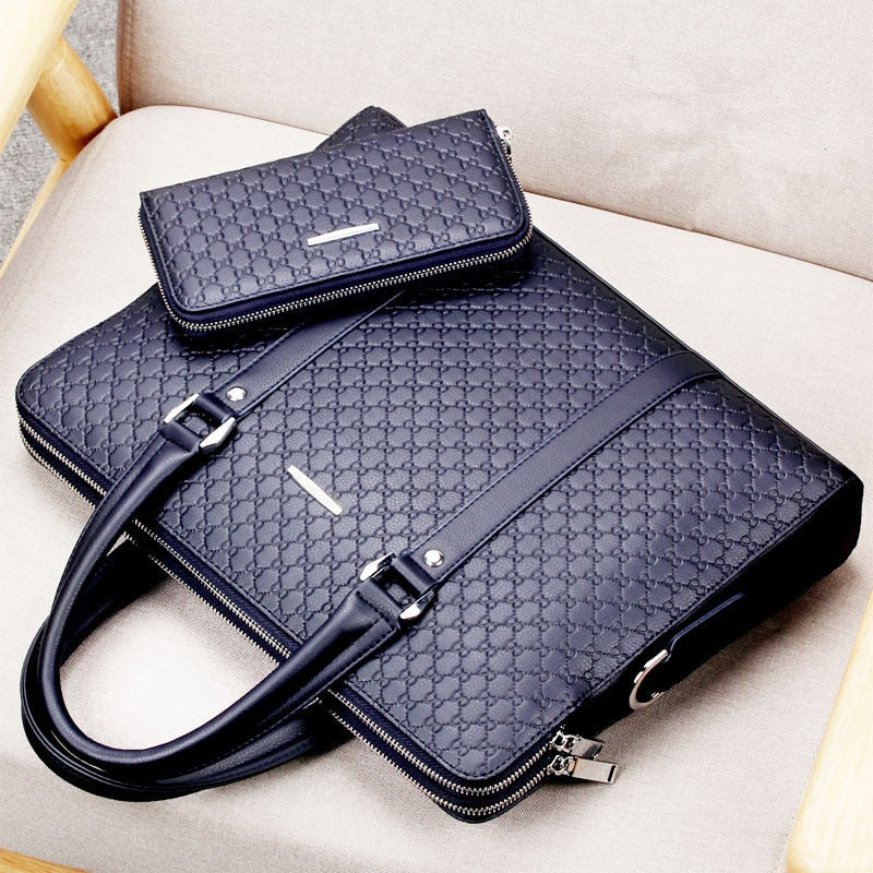 Men's 15inch Double Layer Business Bag and Wallet Set