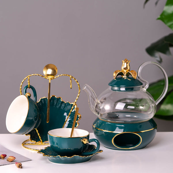 600ml Emerald Gold Glass Teapot And 150ml Ceramic Tea Cup Set