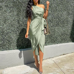 Alexe One Shoulder Ruched Bodycon Dress