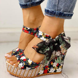 Women's Floral Bowknot Wedge Sandals