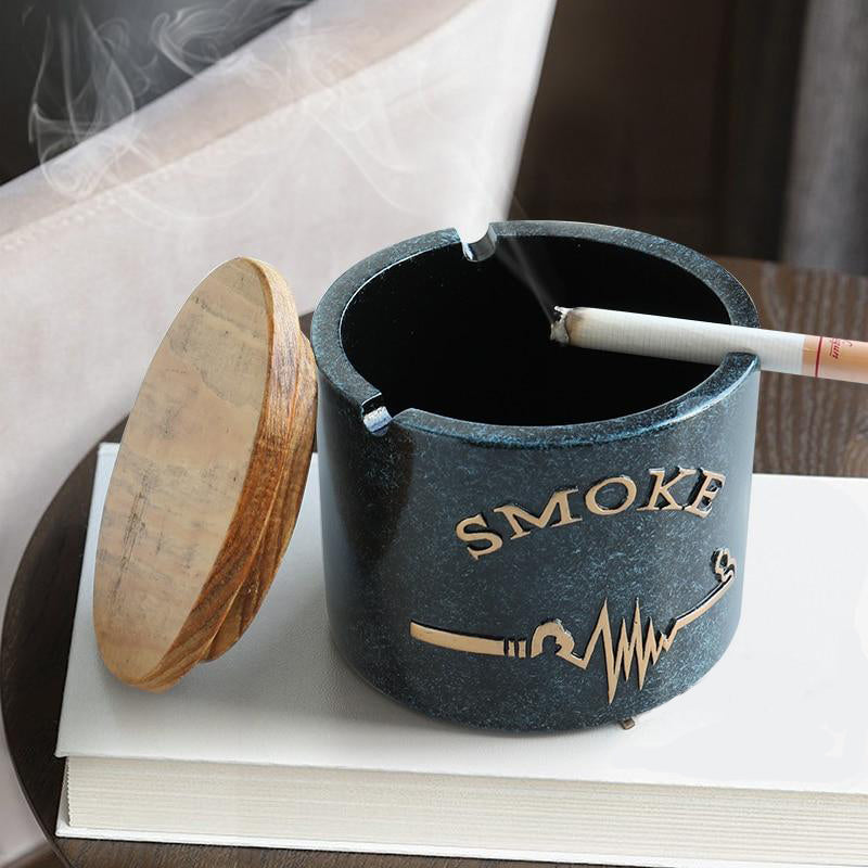 Hand Painted Ashtray With Lid