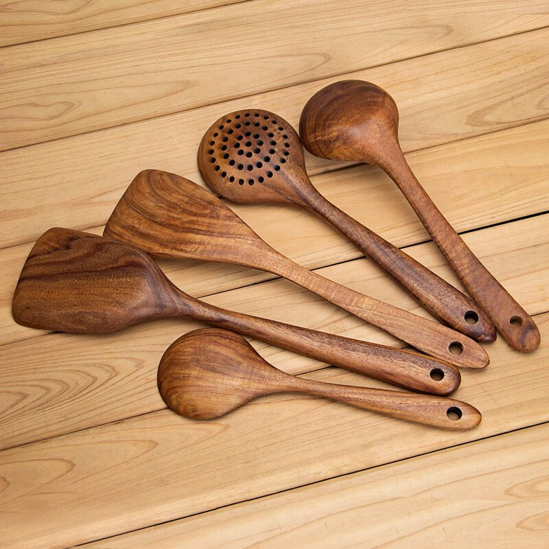 Curlin 5 Piece Wooden Kitchen Utensil Set