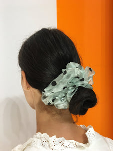 Large Dotty Scrunchie - Light Green