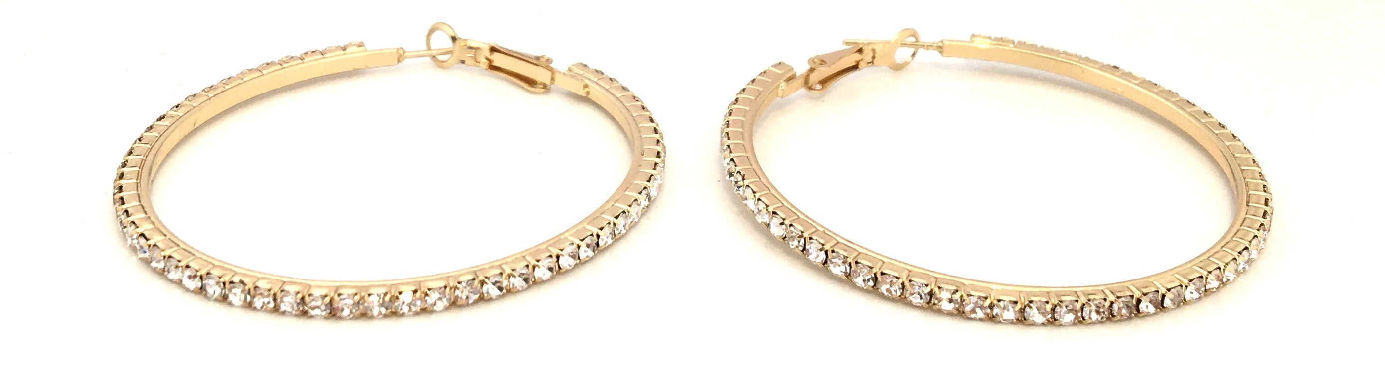 Rhinestone Hoops - Gold