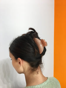 Large Glitter Hairclip - Peach