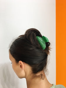 Small Glitter Hairclip - Green