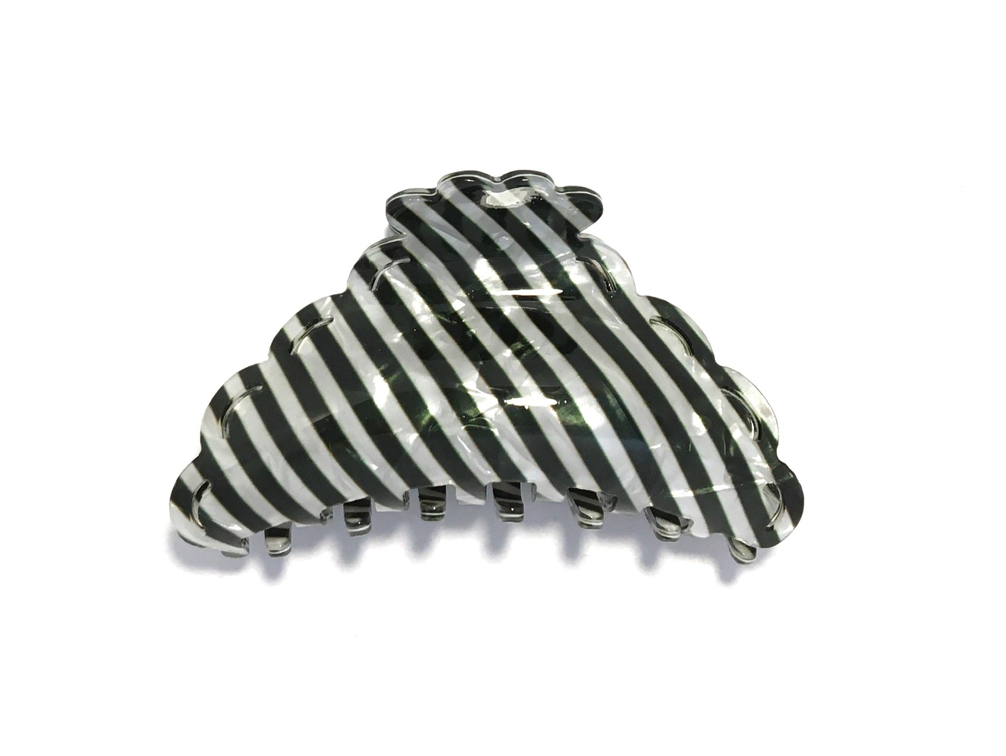Candy Striped Hairclip - Dark Green