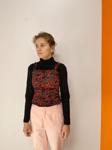 Smock Top - Rød / Sort