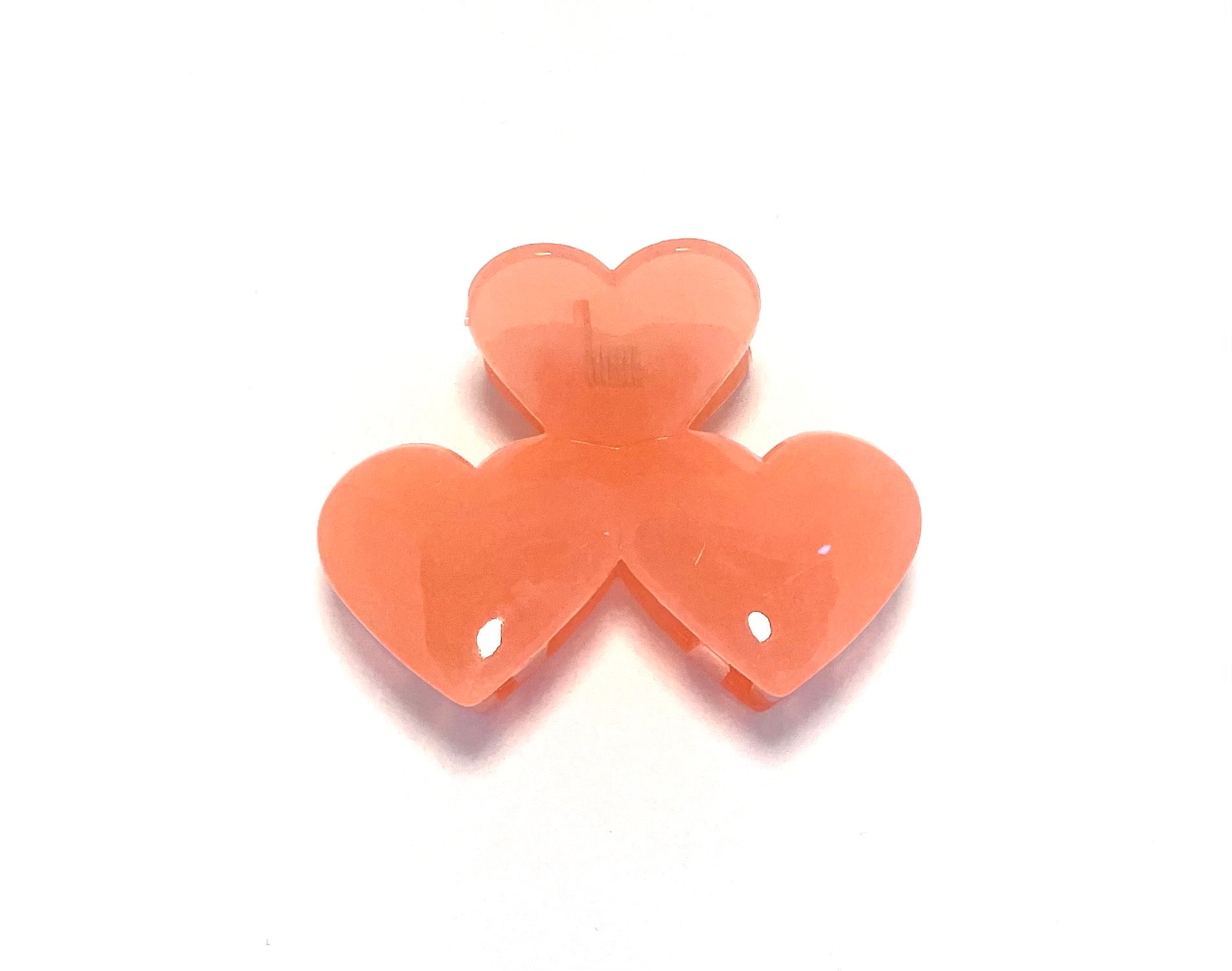 Heart Hairclip - Clear Coral