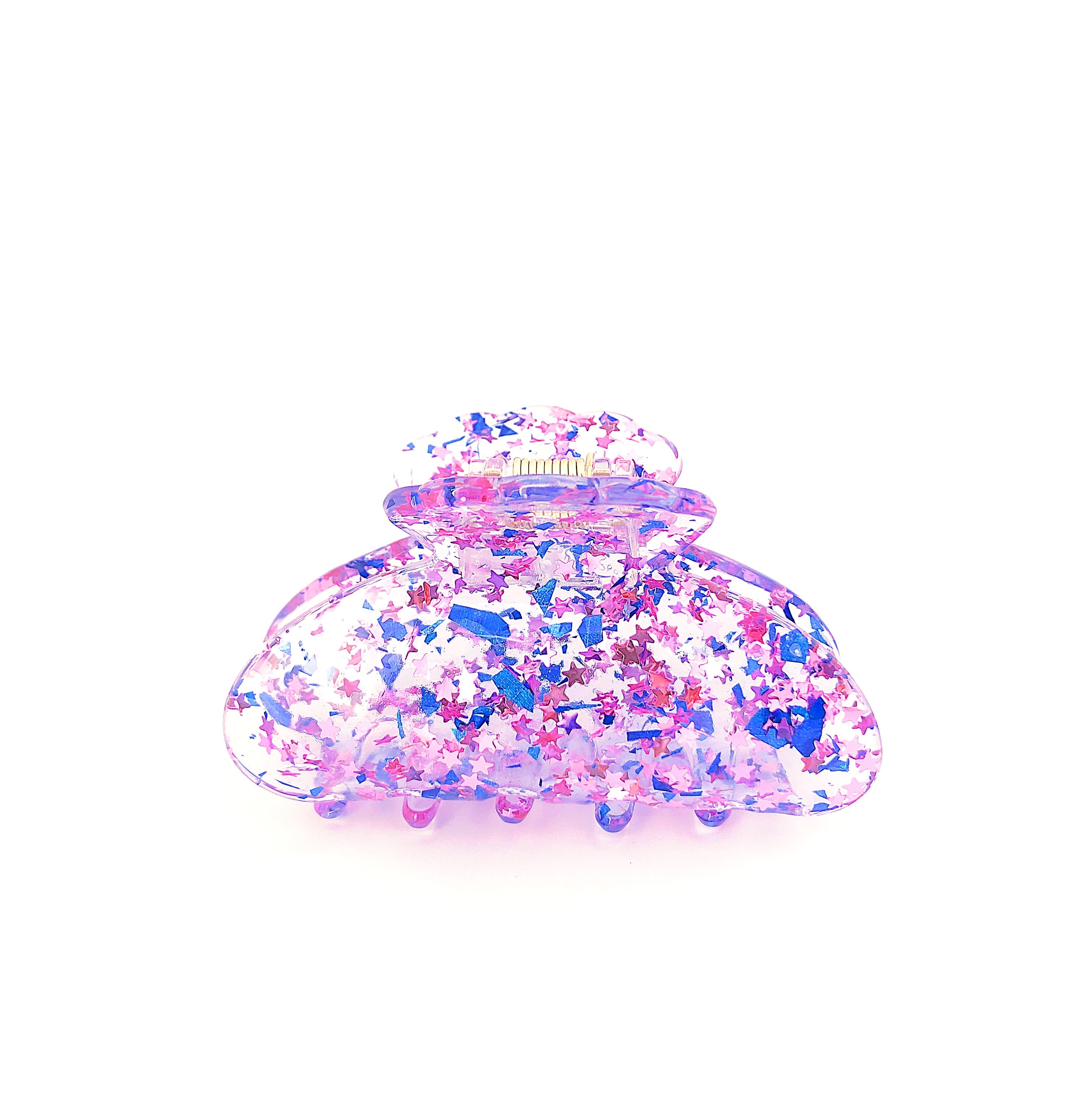 Clear Confetti Claw - Blue/Purple Stars