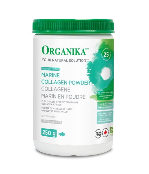 Marine Collagen powder 250g bottle shot. Flavourless Hydrolyzed Marine Collagen Powder.