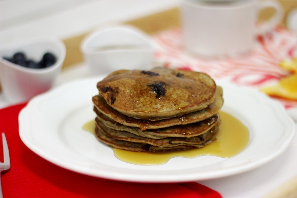 A stack of pancakes made using the protein pancake recipe