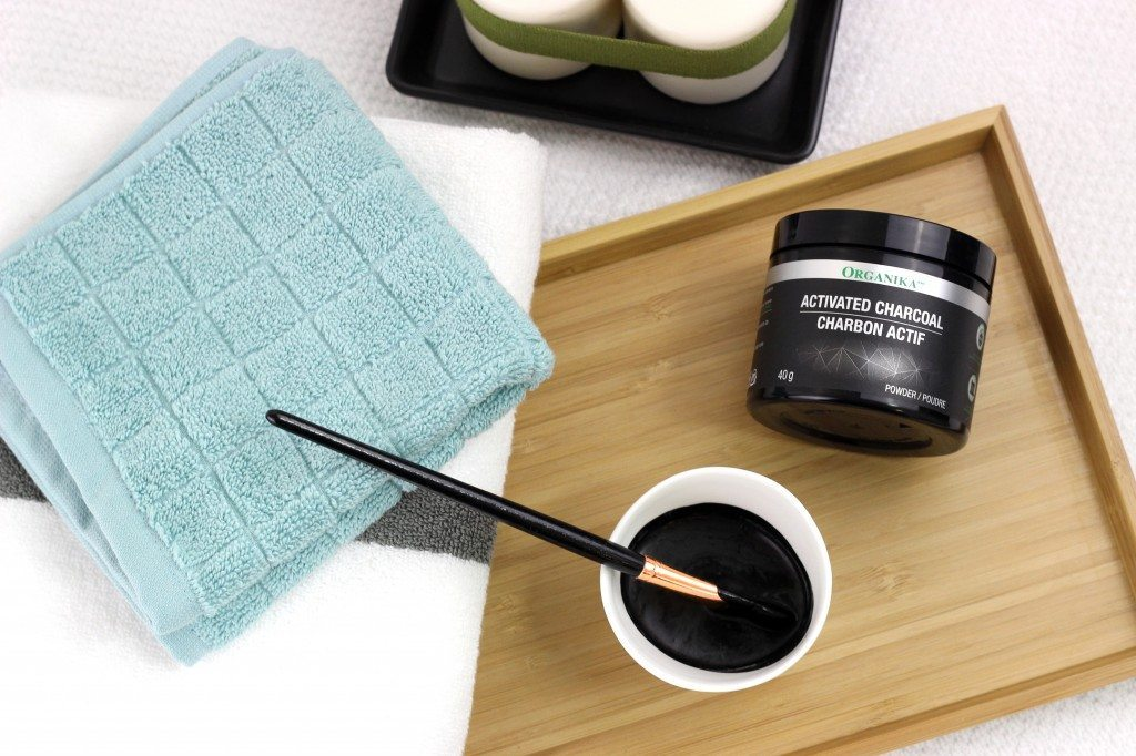 The ingredients needed to make an activated charcoal face mask