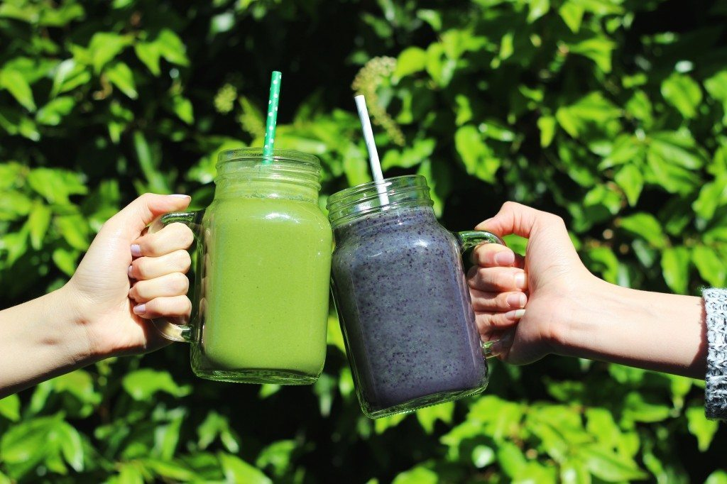 Cheers-ing two smoothies