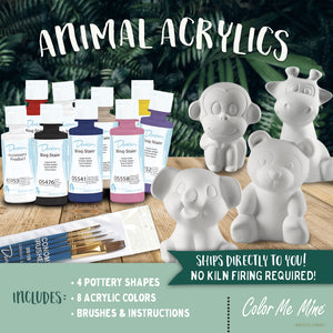 Animal Kit (includes 4 pottery pieces) - Underglaze or Acrylics