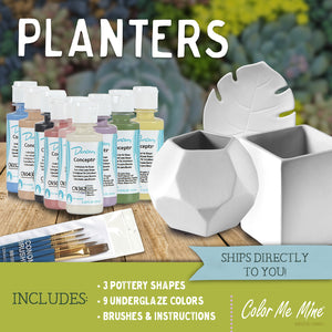 Planters Kit (includes 2 planters and 1 tray) - Underglaze ONLY
