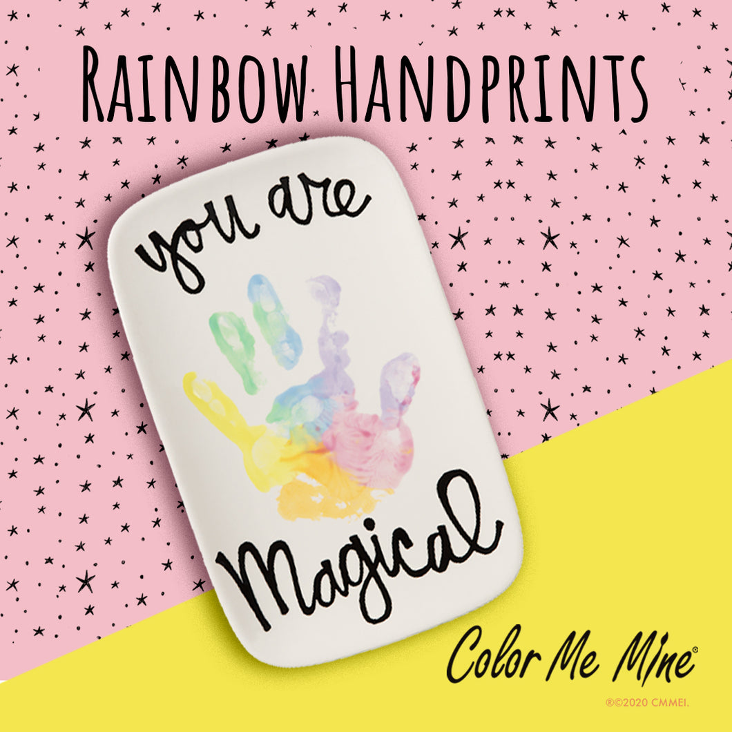 Rainbow Handprint Plate Activity