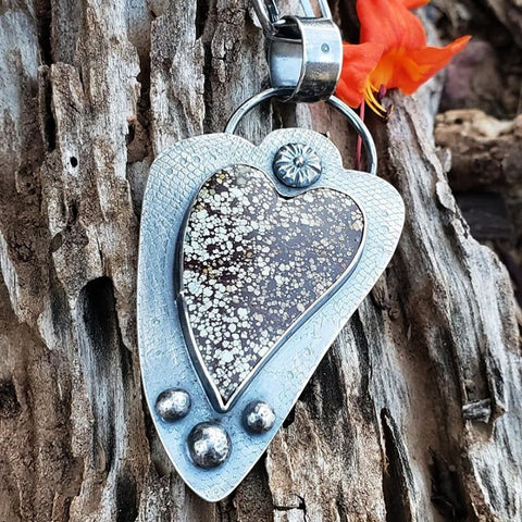 heart pendant with flower finding