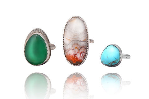 Silver cabochon rings