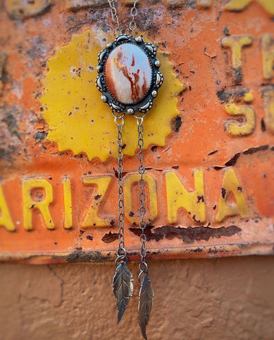 cabochon pendant with cast bead embellishment