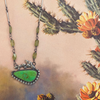turquoise and peridot necklace with prickly pear casting
