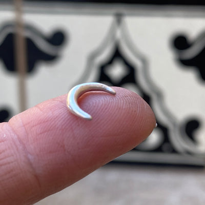 cast sterling silver crescent moon