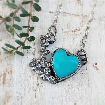 turquoise heart pendant with sterling silver flowering prickly pear casting