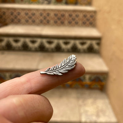 sterling silver feather casting with patina