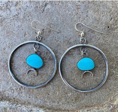 turquoise hoop earring with crescent moon castings