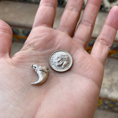 Casting Eagle Claw in silver size comparison with dime