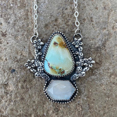 turquoise and moonstone  necklace made with flowering prickly pear casting