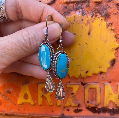 turquoise earrings with teardrop casting