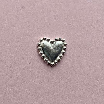 Sterling Silver Beaded Heart Casting