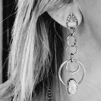 silver earrings made with talavera tile casting