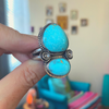 turquoise ring with freeform flower casting
