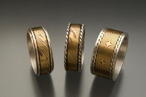 mokume-gane rings made in workshop