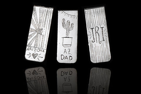 Etched money clips