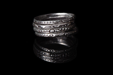 Stamped silver stacking rings