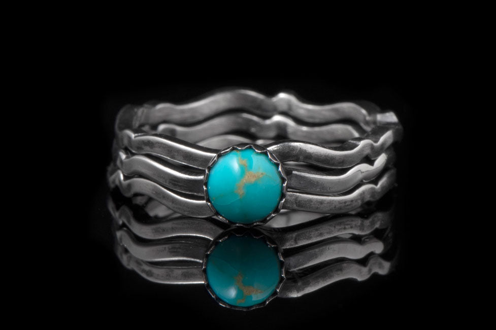 wavy stacking turquoise rings