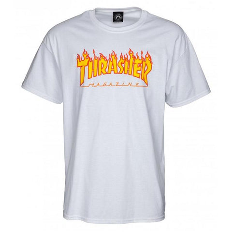 THRASHER TEE FLAME WHITE
