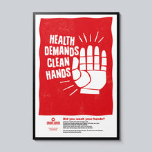 Load image into Gallery viewer, Health Demands Clean Hands - Set of 10 Posters