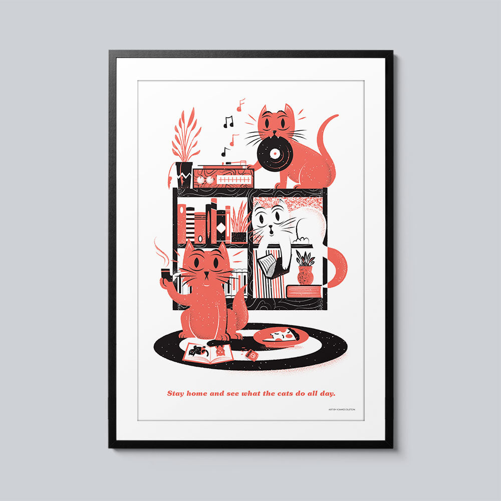 Stay Home and See What the Cats Do All Day - Set of 10 Posters