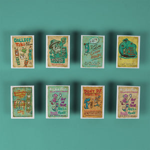 Tiki Tony - Assorted Set of 8 Fridge Magnets