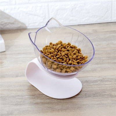 Explosive Cat Double Bowl Cat Bowl Bowl Transparent AS Material Non-slip Food Bowl With Protection Cervical Transparent Cat