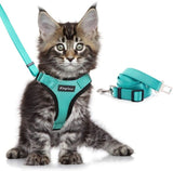 Escape Proof Cat Vest Harness and Car Seat Belt Adapter Adjustable Reflective Cat Harness Soft Mesh Harness for Kitten Puppy