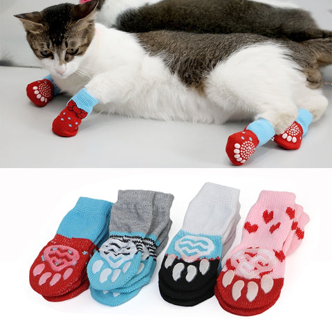 4pcs Cute Puppy Shoes Anti-Slip Knit Socks Cat Shoes Chihuahua Boots For Winter Indoor Wear Slip On Paw Protector