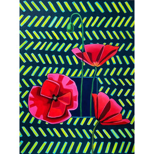 "Poppies and Pattern | 24"" x 18"""