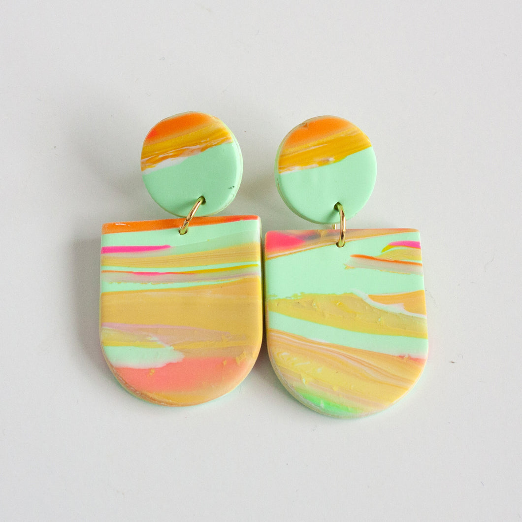 Multi Orange + Aqua Earrings